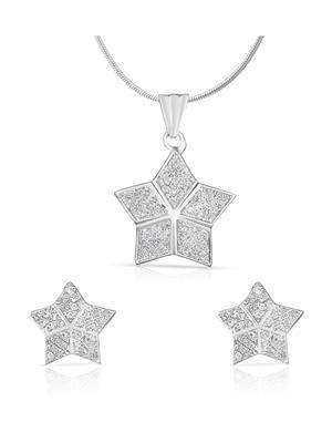 Mahi Fashion Jewellery Star Shine White Stone Pendant set
