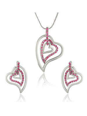 Mahi Fashion Jewellery Hearts  Pink Stone Pendant set