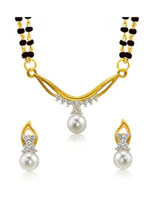 Mahi Fashion Jewellery Princess White Stone Mangalsutra Set