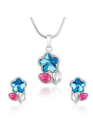 Mahi Fashion Jewellery Floral Blue And Pink Stone Pendant set