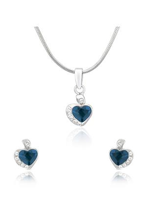 Mahi Fashion Jewellery Heart White And Blue Stone Pendant set