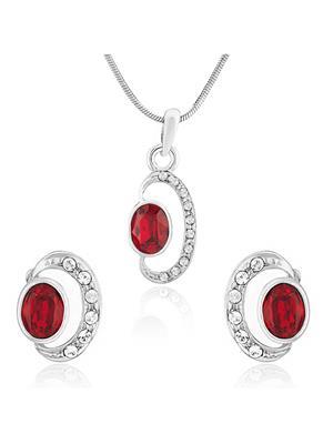Mahi Fashion Jewellery Shimmering Double Ellipse  Red Stone Pendant set
