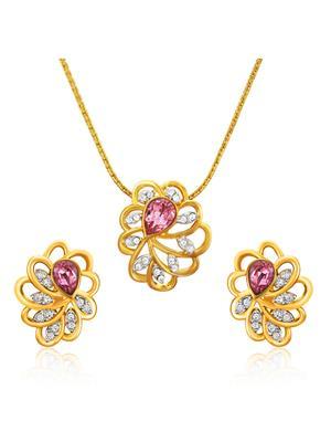 Mahi Fashion Jewellery Marigold Flower Pink & White Stone Pendant set