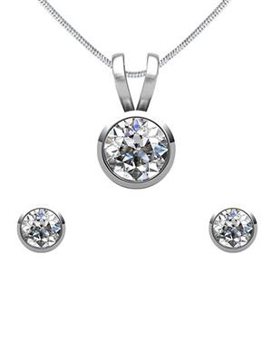 Mahi Fashion Jewellery Solitaire White Stone Pendant set