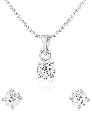 Mahi Fashion Jewellery Solitaire Classic White Stone Pendant set