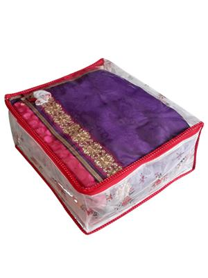 Fashionista NM216 White and Red Women Saree Box