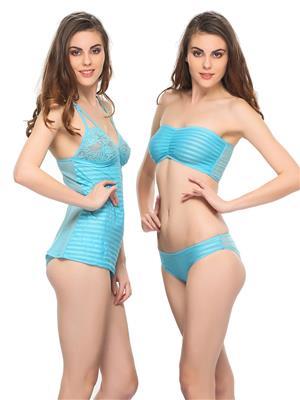 Clovia NS0308P03 Blue Women Night Wear