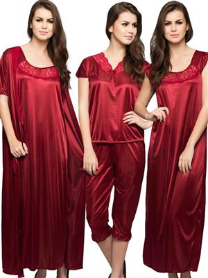 Clovia NSM236G09 Red Women Night Wear