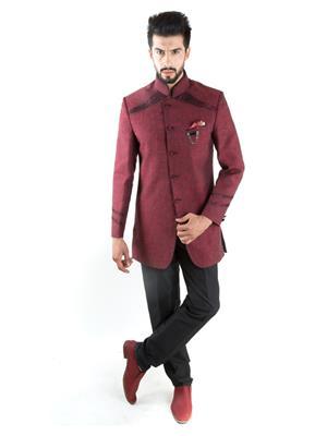 Jahanpanah OU165-06 Red Men Suit With Pant
