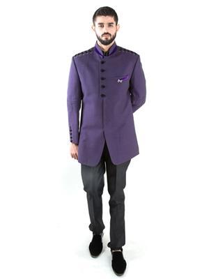 Jahanpanah OU174-54 Purple Men Suit With Pant