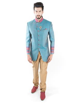 Jahanpanah OU187-48 Blue Men Suit With Pant