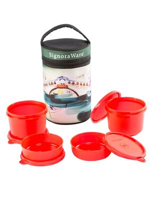 Signoraware P10509 Deep Red Lunch Box With Bag