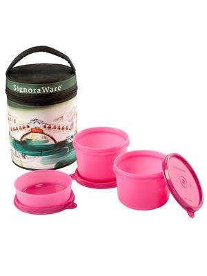 Signoraware P10516 Pink Lunch Box With Bag