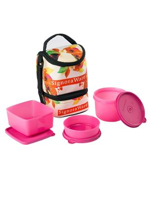 Signoraware P17525 Pink Lunch Box With Bag