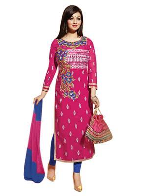 Pramukh Enterprise PE1-38 Pink Women Dress Material
