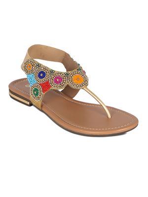 Flora PF-0120-22 Golden Women Sandal