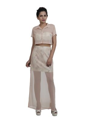 Pour Femme PF0038 Orange Crop Top With Short Skirt