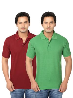 Ansh Fashion Wear Polo-2Cm-11-1 Multicolored Men T-Shirt Set Of 2