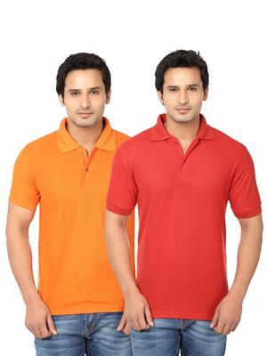 Ansh Fashion Wear Polo-2Cm-12-1 Multicolored Men T-Shirt Set Of 2