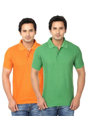 Ansh Fashion Wear Polo-2Cm-15-1 Multicolored Men T-Shirt Set Of 2