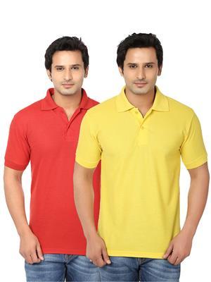 Ansh Fashion Wear Polo-2Cm-16-1 Multicolored Men T-Shirt Set Of 2