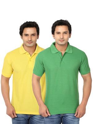 Ansh Fashion Wear Polo-2Cm-20-1 Multicolored Men T-Shirt Set Of 2