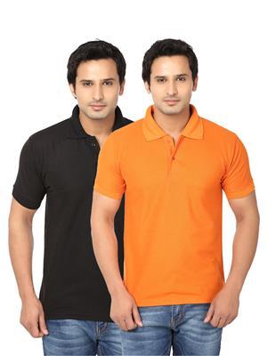 Ansh Fashion Wear Polo-2Cm-4-1 Multicolored Men T-Shirt Set Of 2