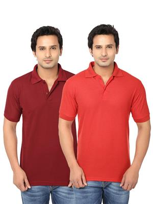 Ansh Fashion Wear Polo-2Cm-8-1 Multicolored Men T-Shirt Set Of 2