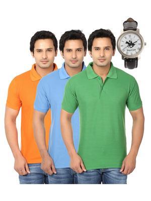 Ansh Fashion Wear Polo-3Cm-Watch-12-1 Multicolored Men T-Shirt Combo Pack