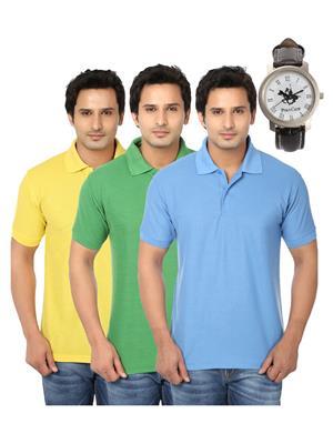 Ansh Fashion Wear Polo-3Cm-Watch-14-1 Multicolored Men T-Shirt Combo Pack