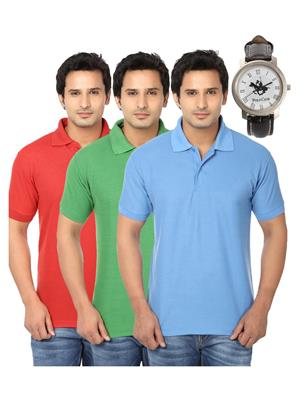 Ansh Fashion Wear Polo-3Cm-Watch-1-1 Multicolored Men T-Shirt Combo Pack