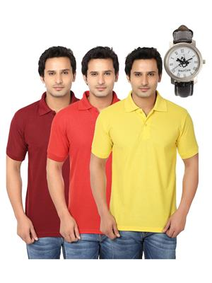 Ansh Fashion Wear Polo-3Cm-Watch-7-1 Multicolored Men T-Shirt Combo Pack