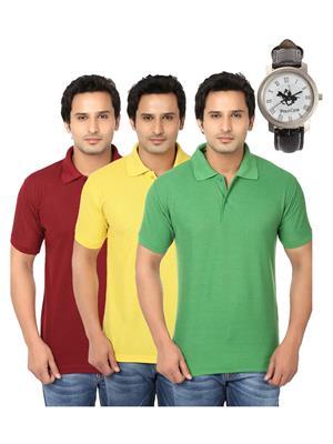 Ansh Fashion Wear Polo-3Cm-Watch-8-1 Multicolored Men T-Shirt Combo Pack