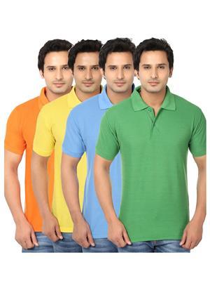 Ansh Fashion Wear POLO-4CM-10-1 Multicolored Men t-Shirt Set Of 4