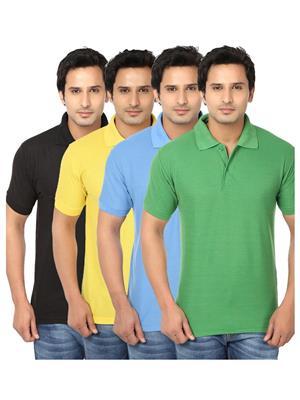 Ansh Fashion Wear POLO-4CM-4-1 Multicolored Men t-Shirt Set Of 4