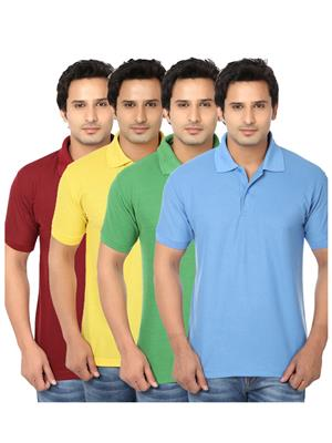 Ansh Fashion Wear POLO-4CM-7-1 Multicolored Men t-Shirt Set Of 4