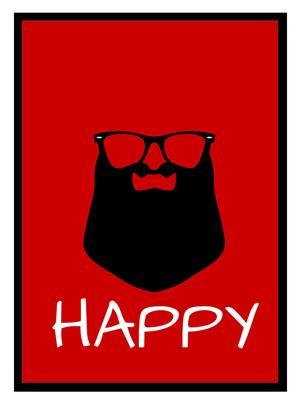 Shoping Inc POS1042 Happy Minimal Art Laminated Framed Poster