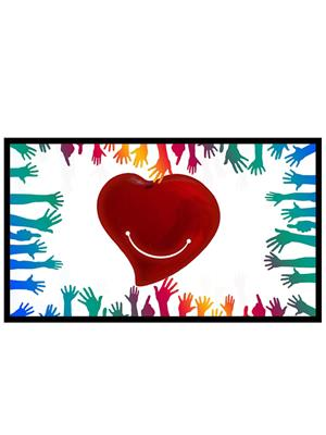 Shoping Inc POS1122 Smiling Heart Abstract Art Laminated Framed Poster