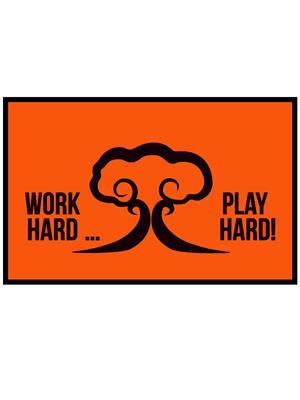 Shoping Inc POS1607 Work Hard Play Hard Quote Awesome Decorative Laminated Framed Art