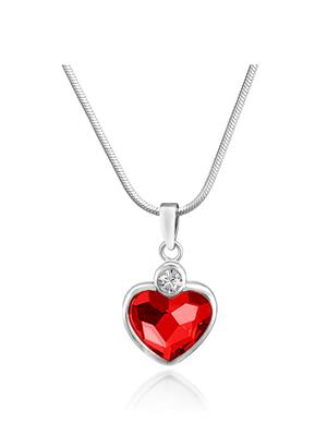 Mahi Fashion Jewellery Heart Red Stone Pendant