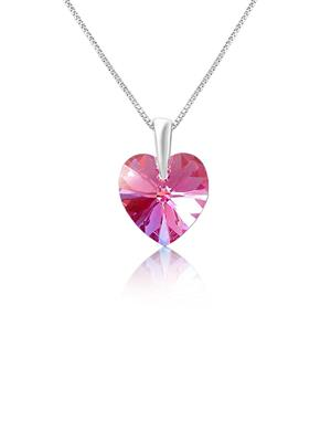 Mahi Fashion Jewellery Pink Love for My Valentine Pink Stone Pendant