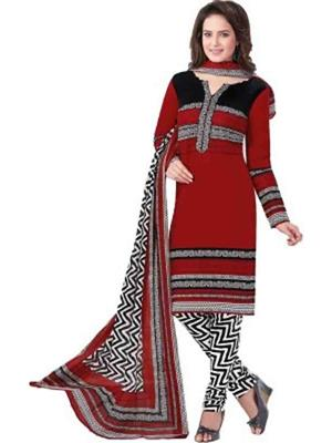 Prachi Collection Prachi006 Red Women Chiffon Printed Dress Material