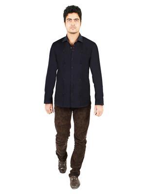 Qdesigns Qd044 Dark Blue Men Casual Shirt