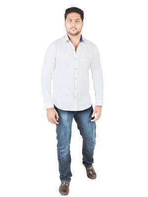 Qdesigns Qd075 White Men Casual Shirt