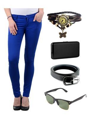 Ansh Fashion Wear R-BL-RPS Blue Women Chinos With Watch, Belt, Sunglass & Card Holder