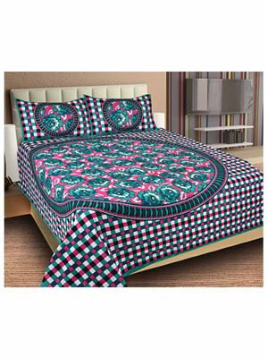 Unnati Rafj-06 Multicolored Bedsheet With 2 Pillow Cover Combo Pack
