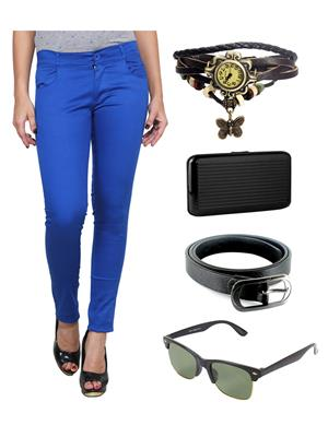 Ansh Fashion Wear RBL-RP Blue Women Chinos With Watch, Belt, Sunglass & Card Holder