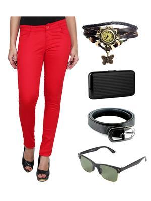 Ansh Fashion Wear RD-RP Red Women Chinos With Watch, Belt, Sunglass & Card Holder