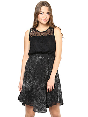 Rose Vanessa RS 098 Chandlace Net Blk Glitter Dress