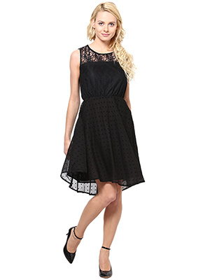 Rose Vanessa RS 099 Chandlace Net Blk Heart Dress